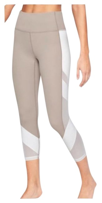 Item - Quail Beige / White Exhale Mesh Capri Activewear Bottoms Size 2 (XS, 26)