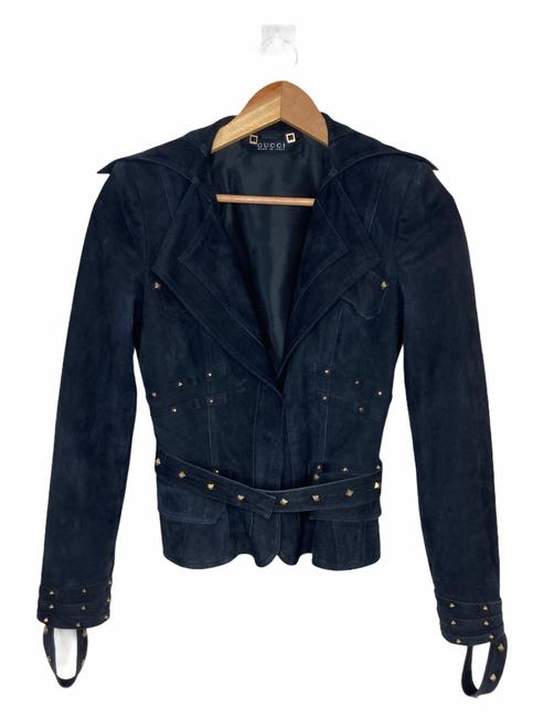 Item - Black Vintage Suede with Gold Studs Jacket Size 0 (XS)