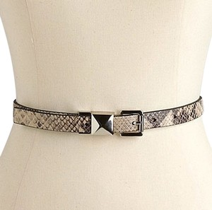 Michael Kors Michael Kors Snakeskin Leather Pyramid Stud Belt