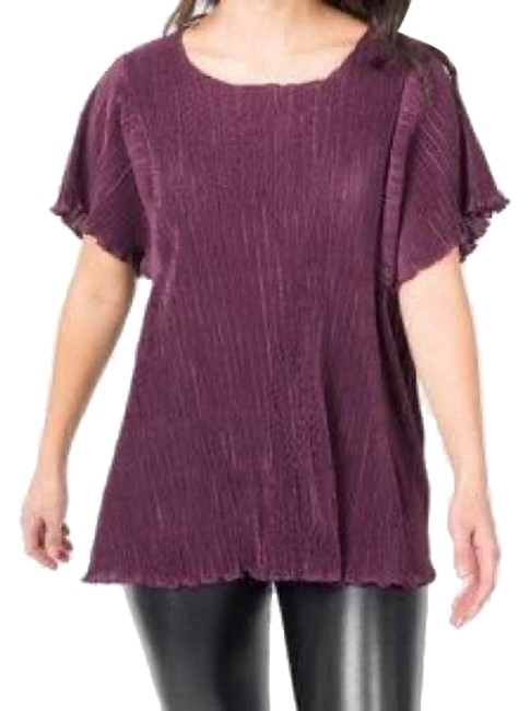 Item - Red XL And Crystal Pleat Midi Burgundy Blouse Size 16 (XL, Plus 0x)