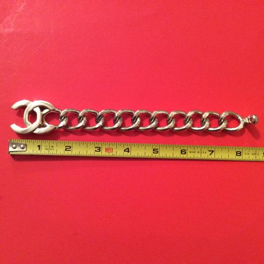 Chanel RARE CHANEL '96P SILVER PLATED CC TURNLOCK CHUNKY CHAIN LINK BRACELET