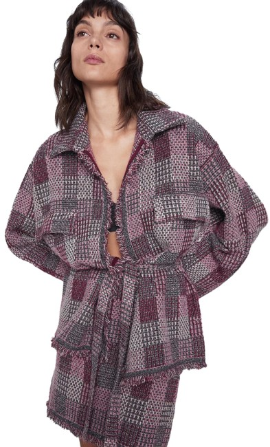 Item - Multicolor Check Tweed Knit Overshirt Belted Cardigan Sweater Pink Color New Jacket Size 10 (M)