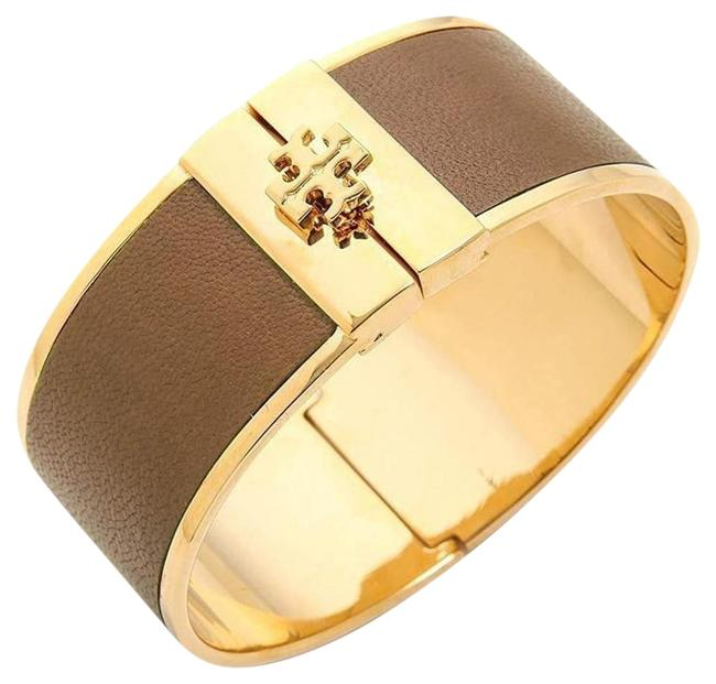 Item - Gold/Brown Flash-sale Leather Inlay Cuff with Dust Bag Bracelet