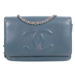 Item - Classic Flap Crossbody Color Block Wallet On A Chain Cc Steel Grey-blue & Taupe Brown Lambskin Leather Shoulder Bag