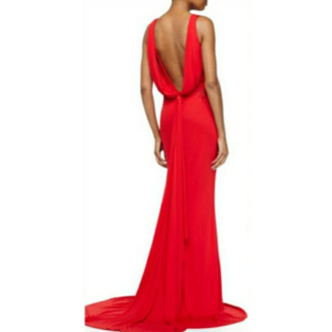 Item - Red Draped-back Evening Gown Long Casual Maxi Dress Size 6 (S)