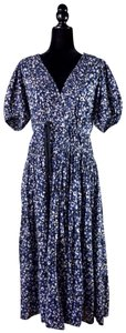 Indigo Blue Maxi Dress by Ulla Johnson Flattering Shibuli Floral Elastic Tie
