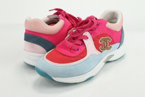 Chanel Multicolor Lambskin and Suede Lace Up Sneakers Shoes