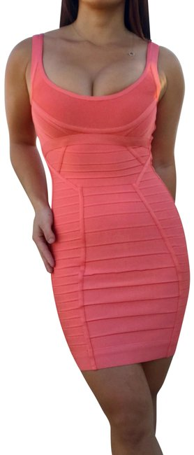 Item - Coral Amber Scoopneck Bandage Short Night Out Dress Size 4 (S)