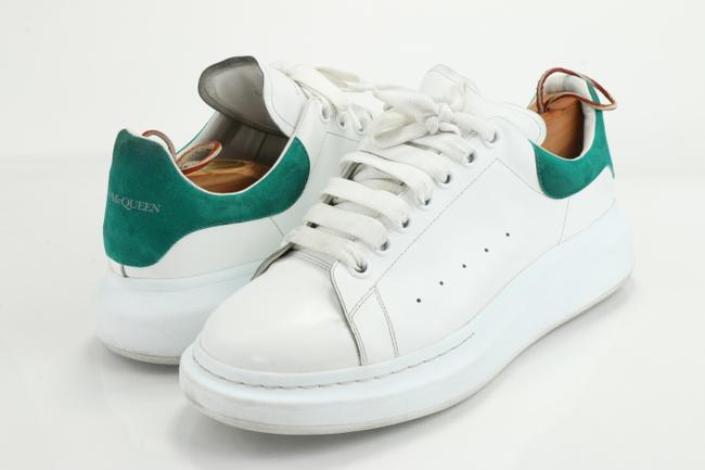 Item - White/Green Men's Oversized Leather Low-top Sneakers Shoes