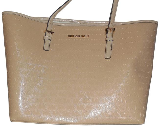 Item - Carry All Jet Set Travel Oyster/Blush Patent Leather Tote