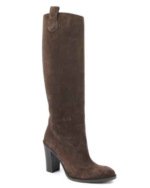 Item - Brown Suede/2012 W Leather/Suede Tall Knee W/Script Logo It 39.5/Us 9.5 317032 Boots/Booties Size EU 39.5 (Approx. US 9.5) Regular (M, B)