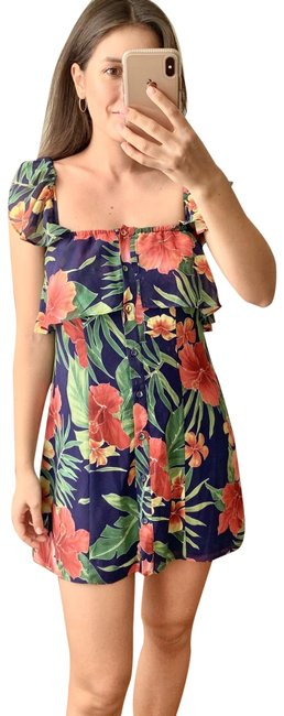 Item - Green Red Mini Floral Short Casual Dress Size 2 (XS)