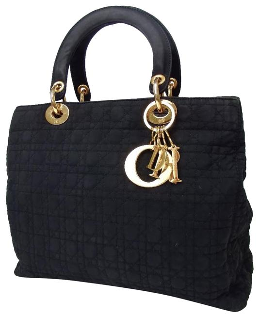 Item - Christian Handbag Satchel Quilted Cannage Lady Purse Black Canvas Tote