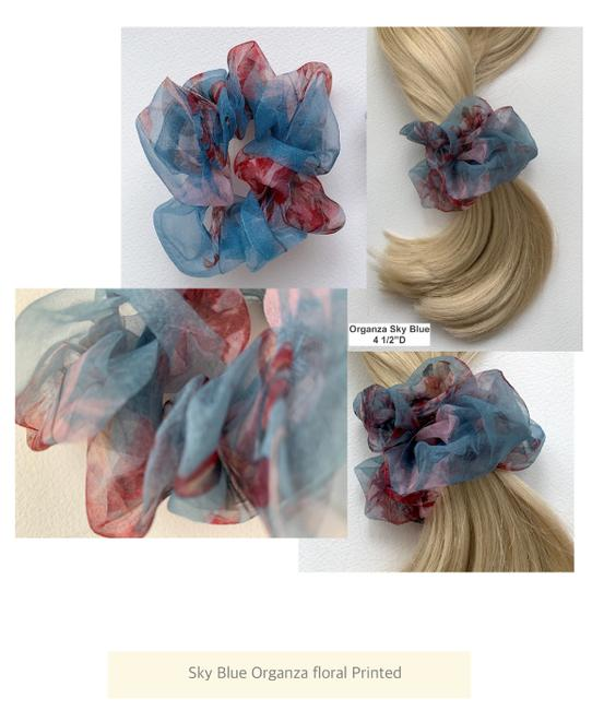 Item - Sky Blue Multi Scrunchies Gift 3 Sets | Floral Print/Metallic/Textured Hair Accessory