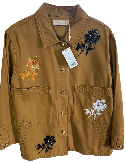 Item - Tan Embroidered Single- Breasted Jacket Size 12 (L)