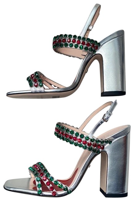Item - Silver 549613 Bertie Red/Green Crystal Web Straps Square Toe Sandals Size US 6.5 Regular (M, B)