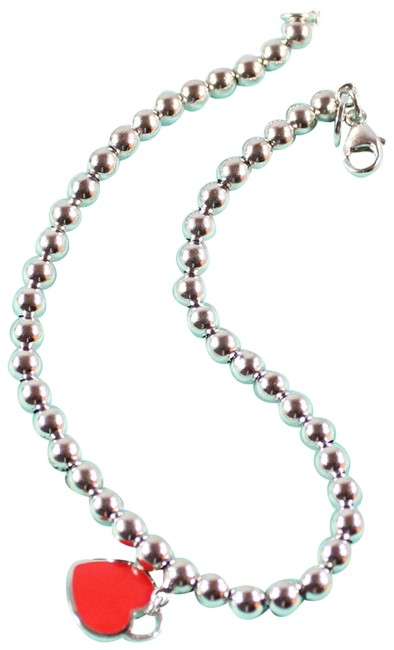 Item - Red and Silver Return To Bead with Enamel Heart Bracelet