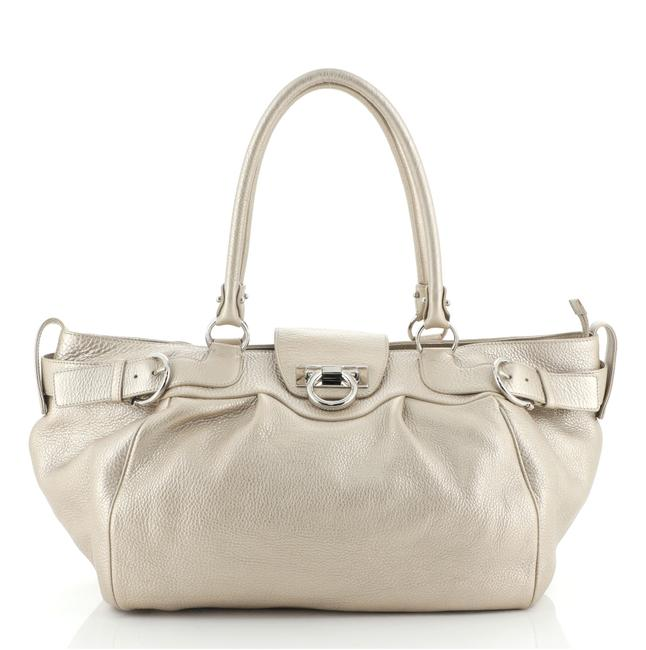 Item - Gancio Lock Buckle Large Gold Neutral Leather Tote