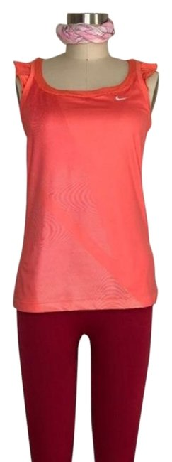 Item - Pink Orange Perforated Lines Racerback Ruffle Frill Activewear Top Size 8 (M)