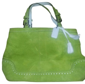 Coach Suede Satchel in Lime Green