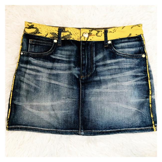 Item - Denim Navy Yellow Jeans Snake Accent Us 26 Skirt Size 2 (XS, 26)