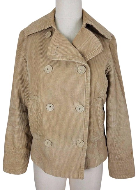 Item - Tan Corduroy Double Breasted Trench Style Short Jacket Womens Coat Size 6 (S)