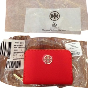 Tory Burch NWT Tory Burch Robinson Zip Coin Wallet Poppy Coral
