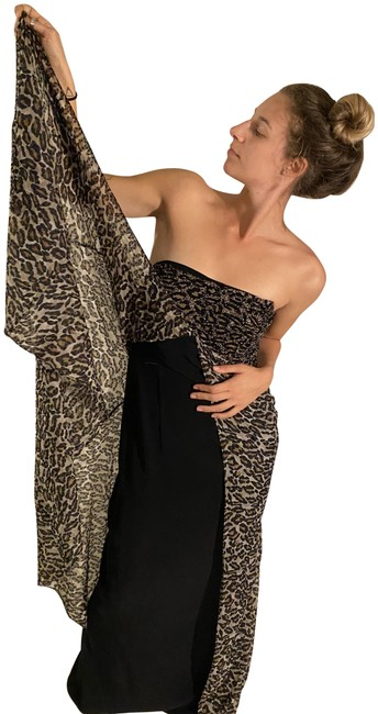 Item - Black and Leopard Print Vintage Beaded Sheer Long Night Out Dress Size 12 (L)