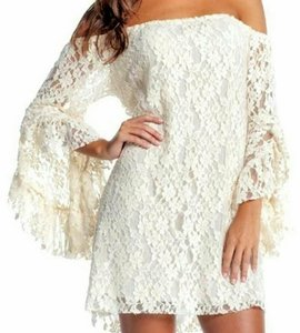 Elan short dress Cream Lace Peasant Sleeves on Tradesy