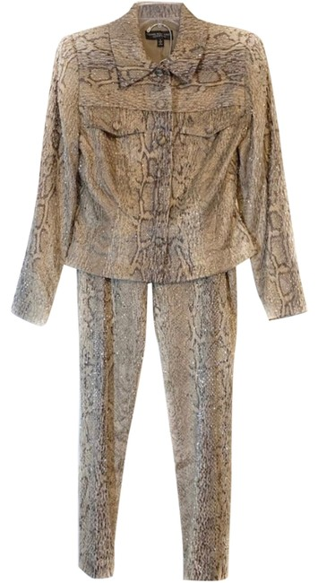 Item - Brown Snakeskin Embellished Pant Suit Size 6 (S)