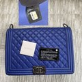 Chanel Handbag Boy Quilted Large Blue Lambskin Leather Shoulder Bag Chanel Handbag Boy Quilted Large Blue Lambskin Leather Shoulder Bag Image 3