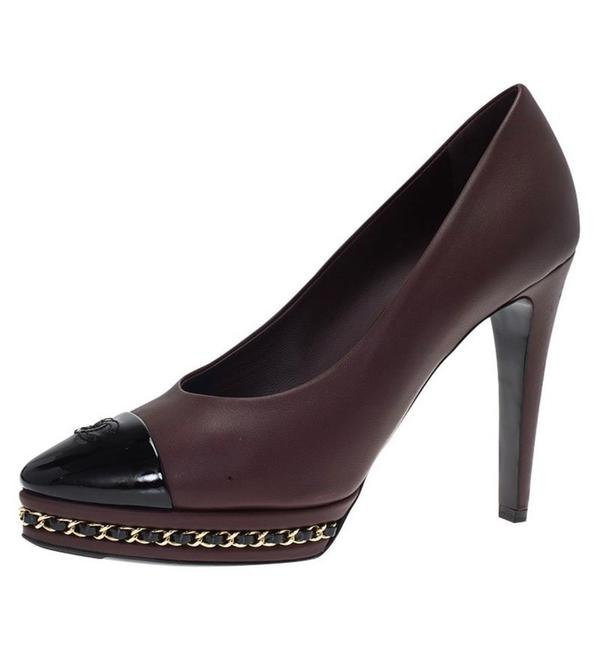 Item - Burgundy Calfskin Leather Chain Link Platform Pumps Size US 8.5 Regular (M, B)