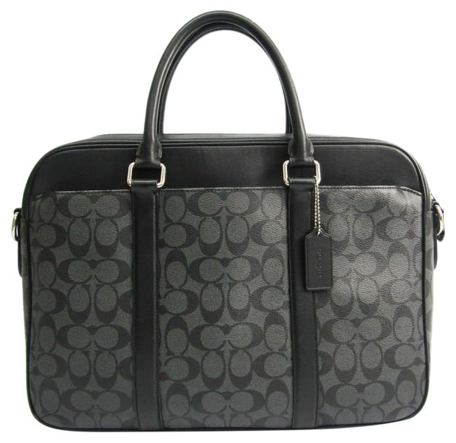 Item - Signature F54803 Men's Briefcase Handbag Black / Charcoal Gray Coated Canvas / Leather Messenger Bag
