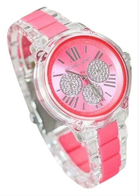 Item - Hot Pink Multifunction and Clear Nylon Case Bradshaw (Mk6874) Watch