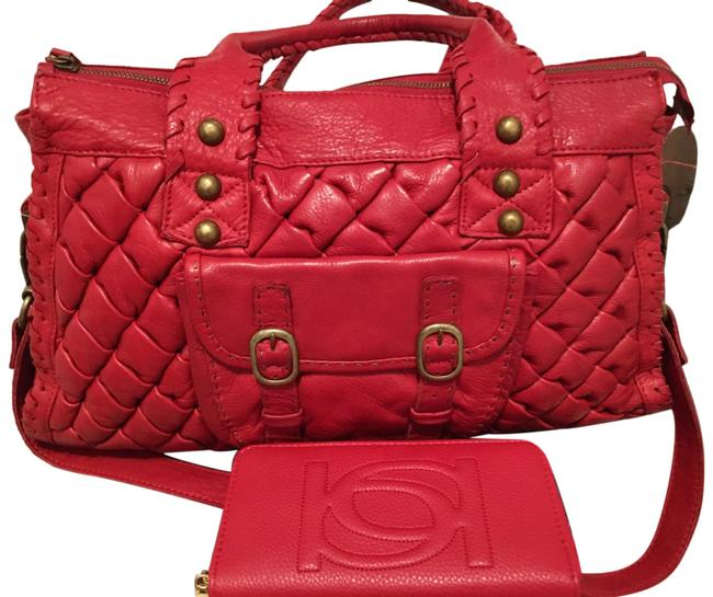 Item - Woven with Free Bebe Wallet Red Leather Tote