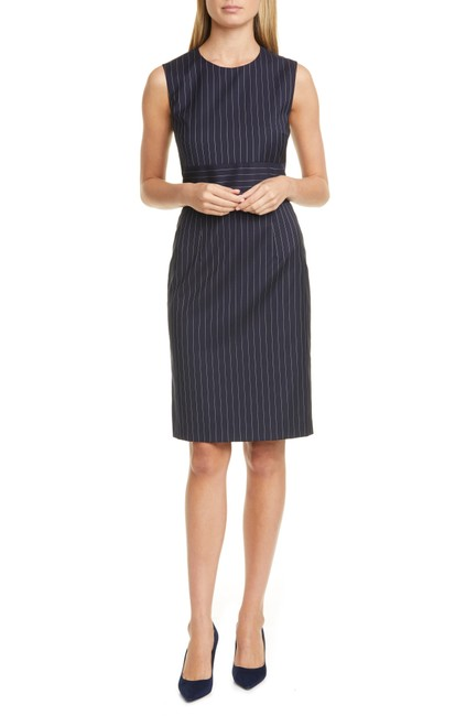 Item - Midnight Fantasy Dometa Pinstripe Sleeveless Stretch Wool Sheath Short Work/Office Dress Size 10 (M)