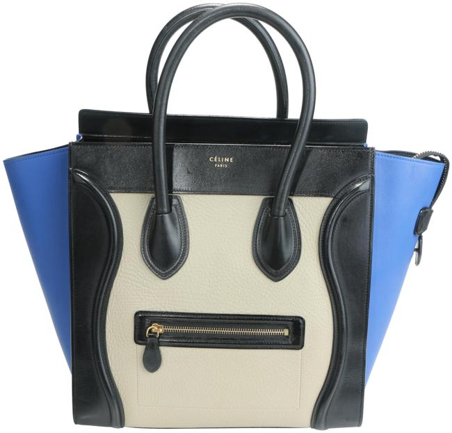 Item - Luggage Smooth Tri-color Micro Multicolor Calfskin Leather Tote