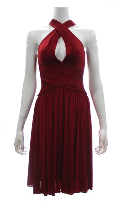 Item - Red Halter with Low Back & Flair Skirt X-small Mid-length Cocktail Dress Size 0 (XS)