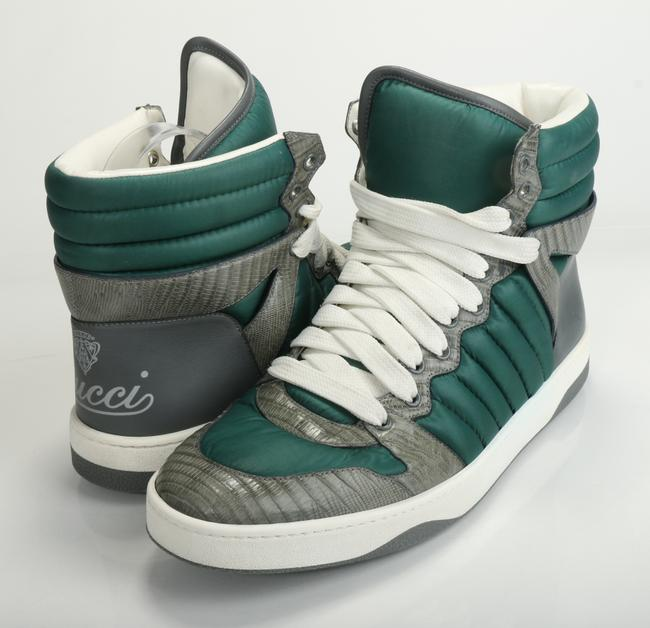 Item - Green/Gray Men's Ostrich/Nylon High-top Sneakers Shoes