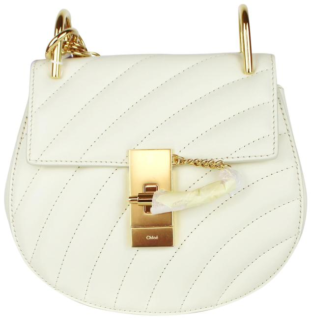 Item - Shoulder Drew Bijou Quilted White Leather Cross Body Bag
