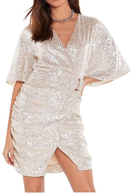 Item - White Sequin Mid-length Night Out Dress Size 10 (M)