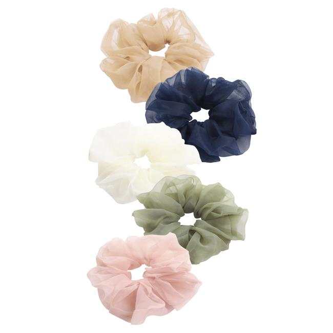 Item - Multicolor 5 Pack Oversized Sheer Organza See-through Ponytail Holder Scrunchies Hair Accessory