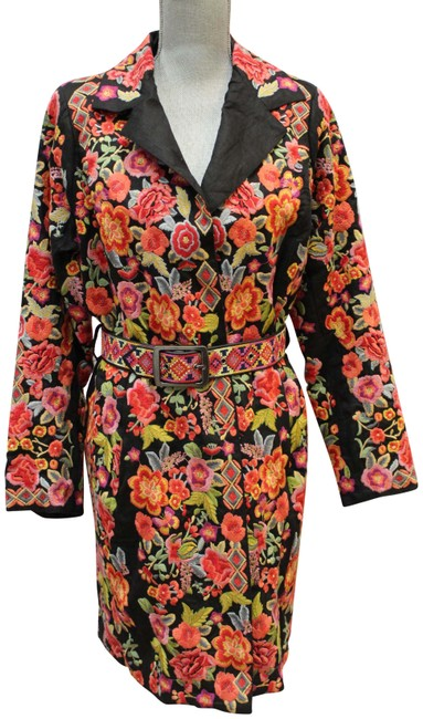 Item - Multicolor Heavy Embroidered Belted Qlo Jacket Coat Size 10 (M)