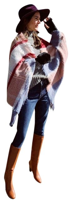 Item - Red Pink Blue Multicolor Striped Square Fringed Scarf/Wrap