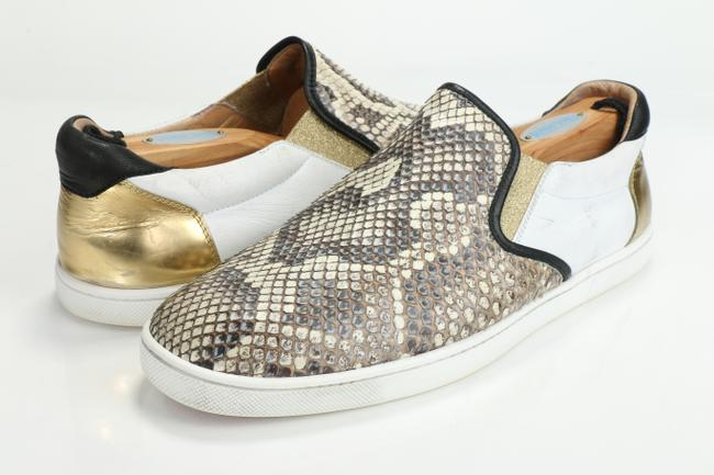 Item - Multicolor Metallic Sailor Python and Leather Skate Shoes