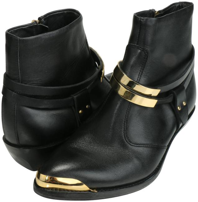 Item - Black/Gold Leather Ankle with Gold-tone Straps Boots/Booties Size EU 39.5 (Approx. US 9.5) Regular (M, B)