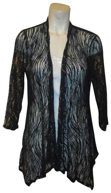Item - Navy & Gold Sheer Lace Mesh Open Front Cardigan Size 8 (M)