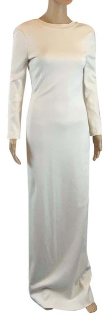Item - Couture Ivory Open Back Evening Gown Long Formal Dress Size 2 (XS)