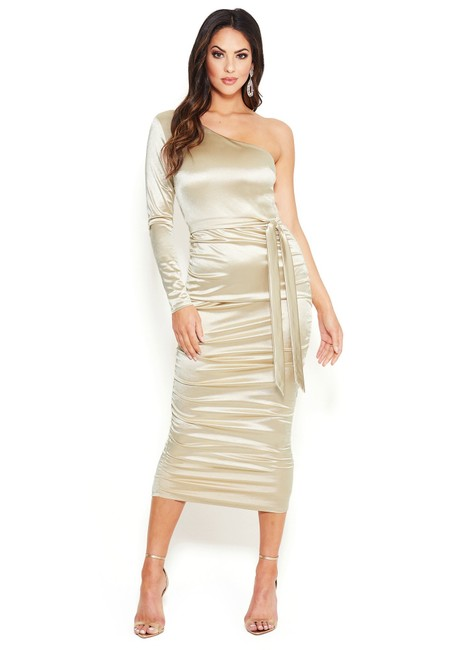 Item - Gold Shimmery Jacquard Puff Shoulder 1 Sleeve Wrap Skirt Silver Mid-length Cocktail Dress Size 4 (S)