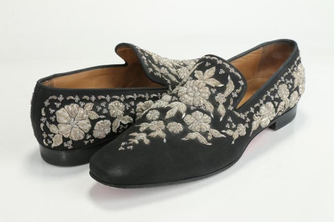 Item - Black Custom Metallic Embroidered Loafers Shoes